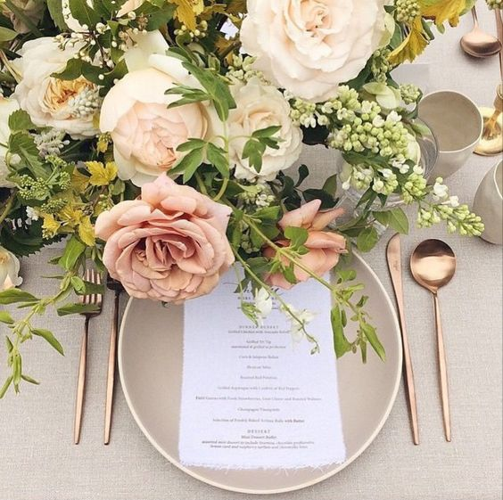 natural pink and gold tuscan wedding ideas