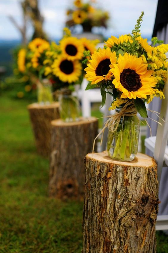 natural wedding decoration with sunflowers and trump