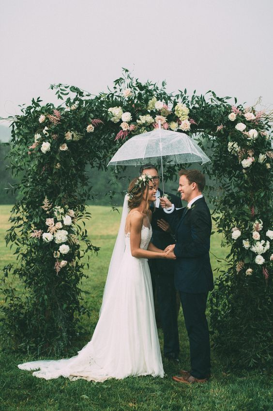 rainy day wedding on a farm