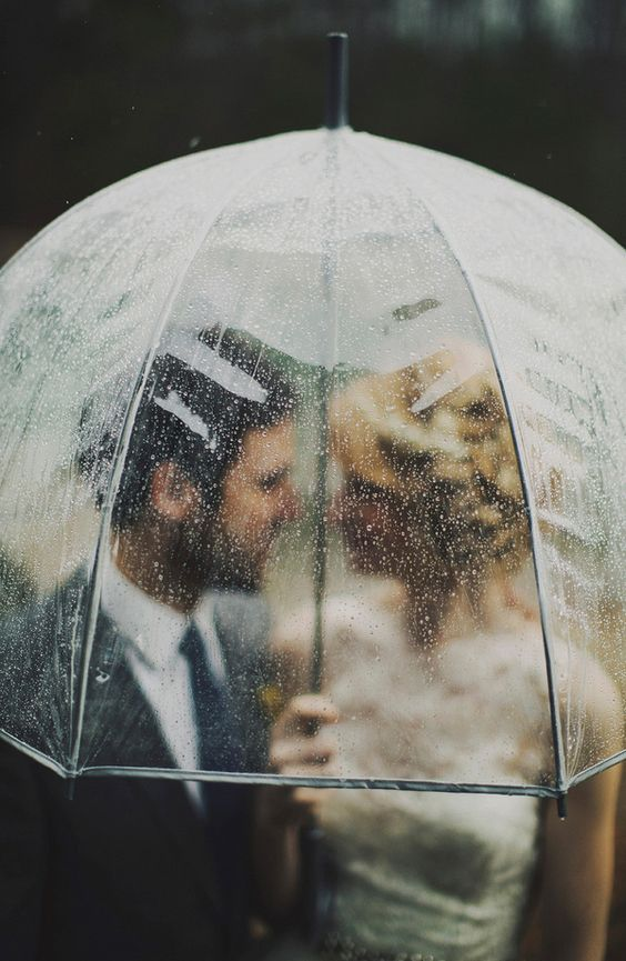 rainy day wedding photo