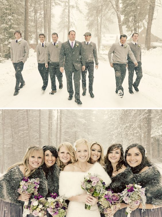 romantic winter wedding photo with bridesmaid and groomsman