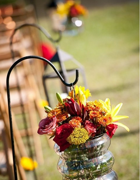 rustic and chic fall wedding aisle decor