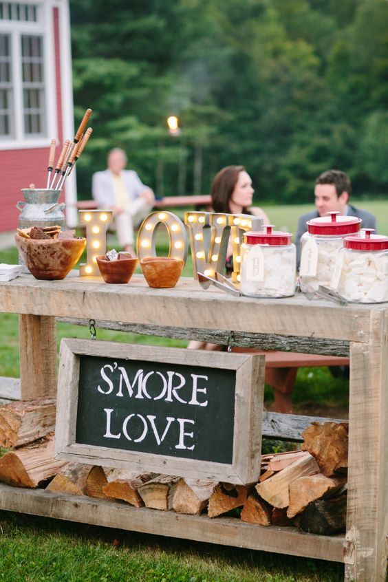 rustic s'more station idea