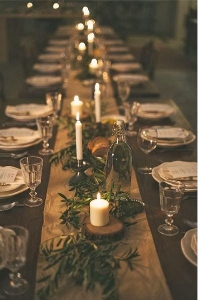 rustic table setting idea for winter wedding