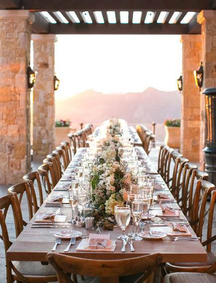 rustic tuscany-inspired wedding reception in a villa