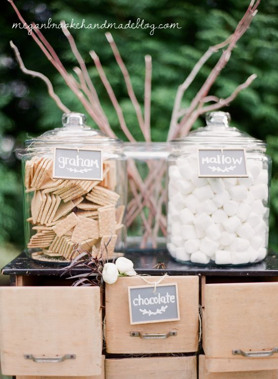 s'more bar idea for rustic farm wedding