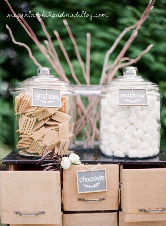 s'more bar idea for rustic farm wedding