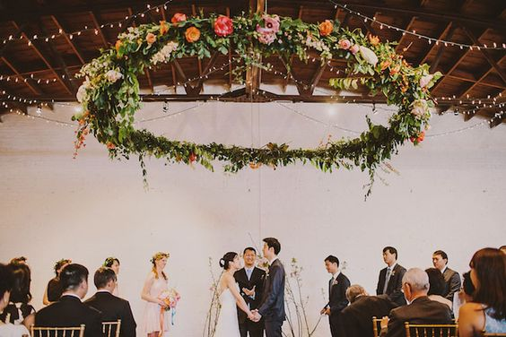 stunning flower chandelier for warehouse wedding ceremony
