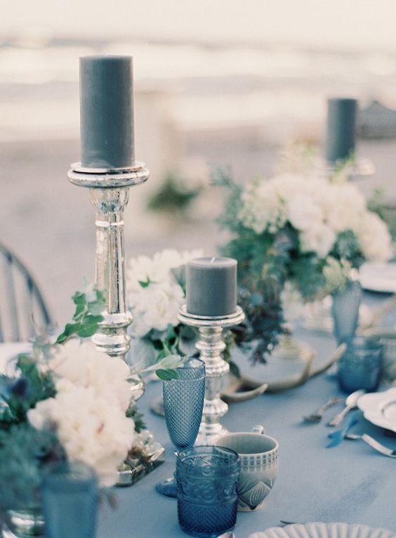 stylish modern dark grey decor for winter wedding setting