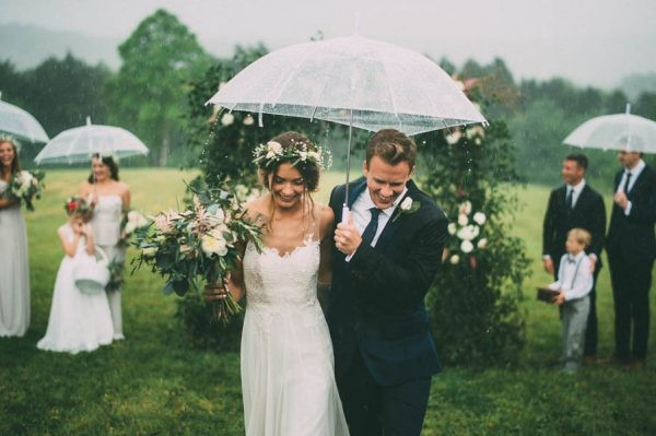 sweet rainy wedding photo
