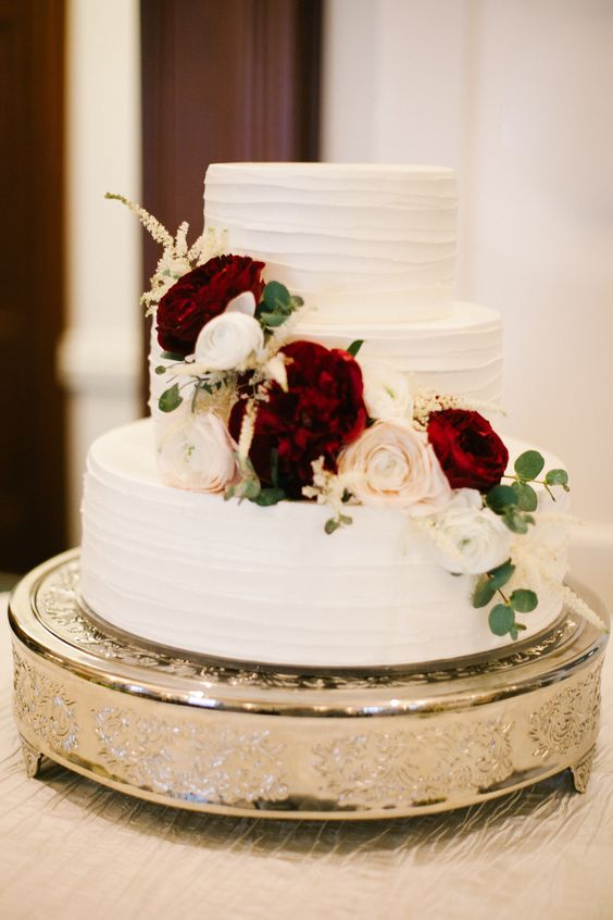 three-layer white wedding cake