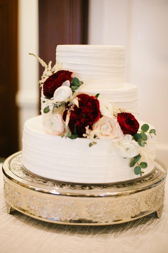 three-layer white wedding cake