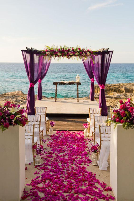 viberant fall beach wedding aisle decoration