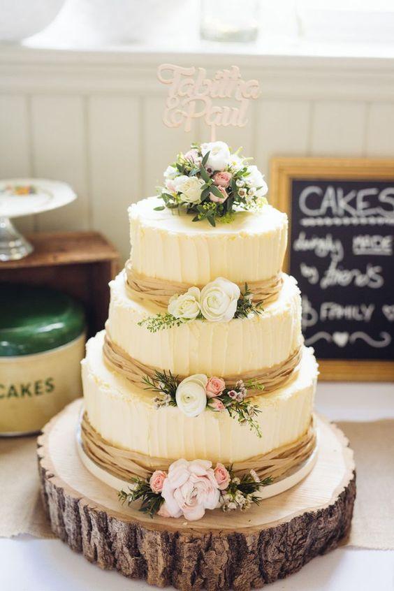 vintage white fall wedding cake
