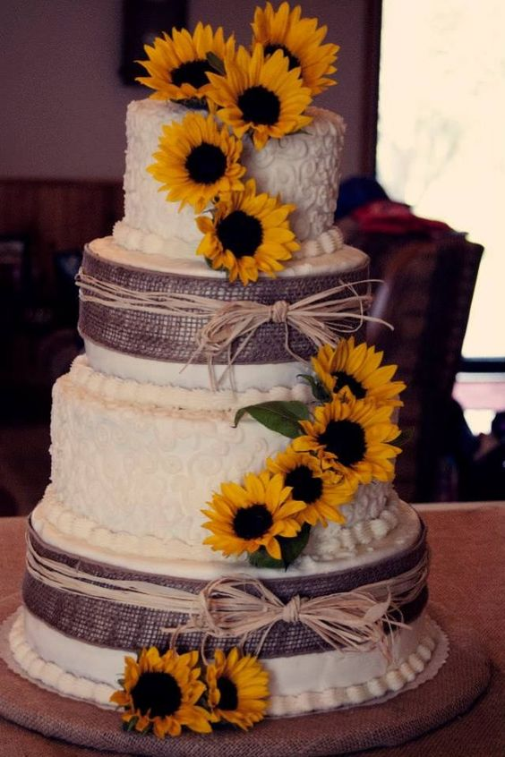 warm and bright sunflower wedding cake