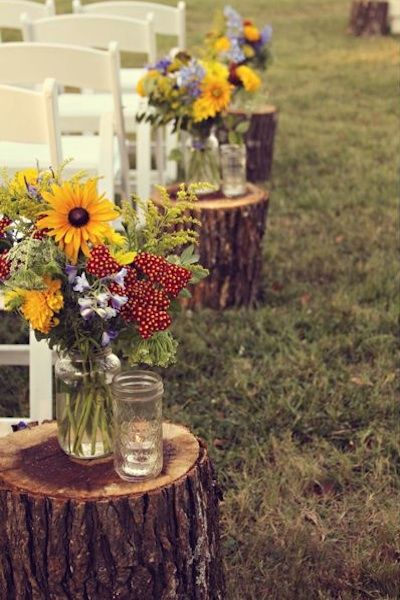 wedding aisle decoration with natural wild flowers