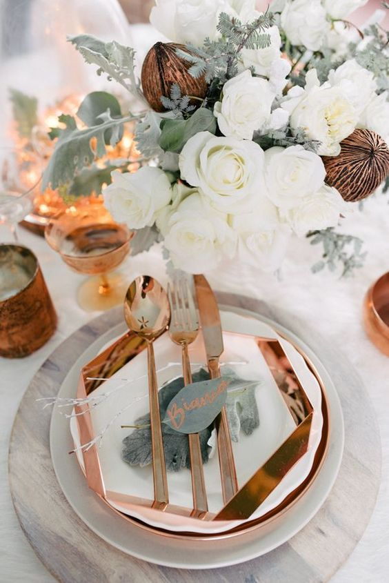 white and copper decors for winter weddings