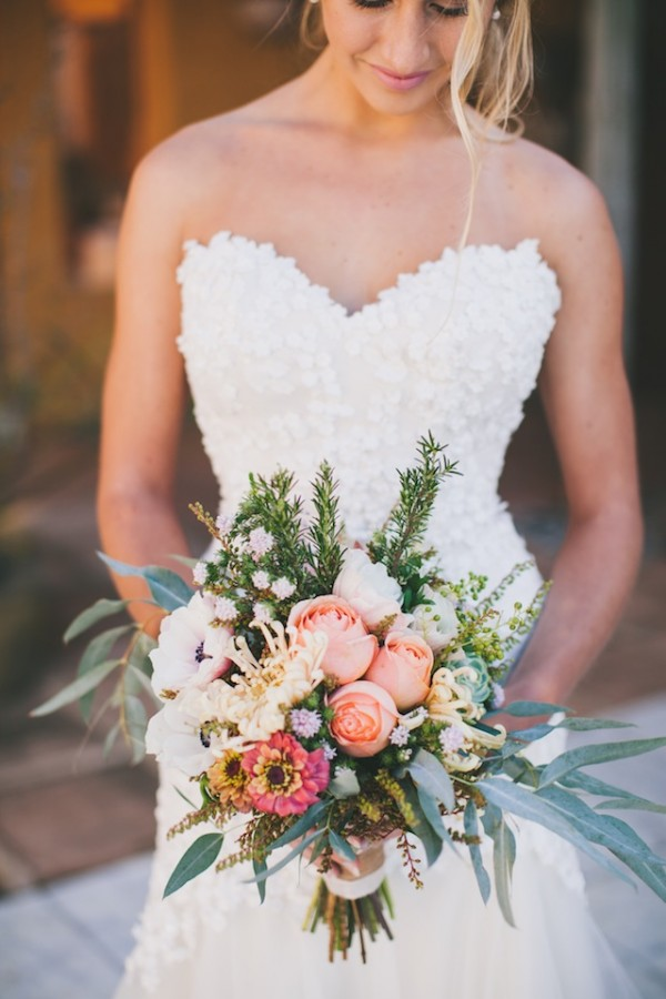 white wedding dress and tropical bouquet for tuscany wedding