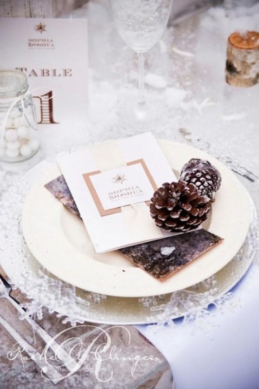 winter wedding table setting with snowflakes and pinecones