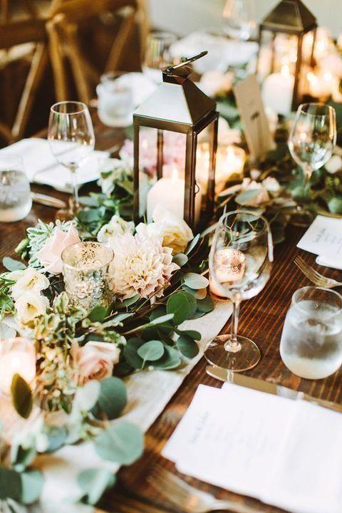 table garland. fresh spring wedding table garland idea h