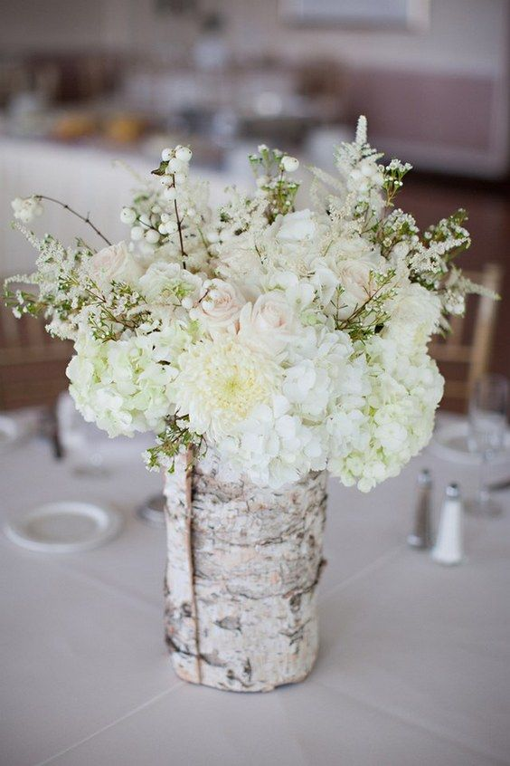 26 Ideas to Rock Your Winter Wedding with Birch Centerpieces