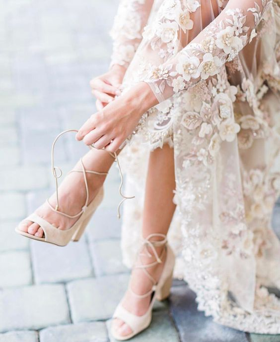 Stylish and Charming Nude Wedding Shoes to Love 011