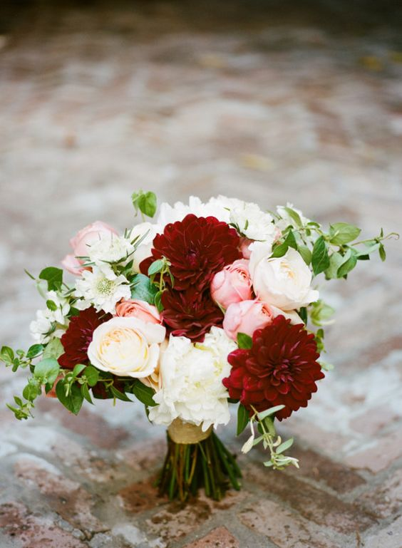 burgundy and blush bouquet of peonies and garden roses for a Pennard House wedding by Frankee Victoria Photography