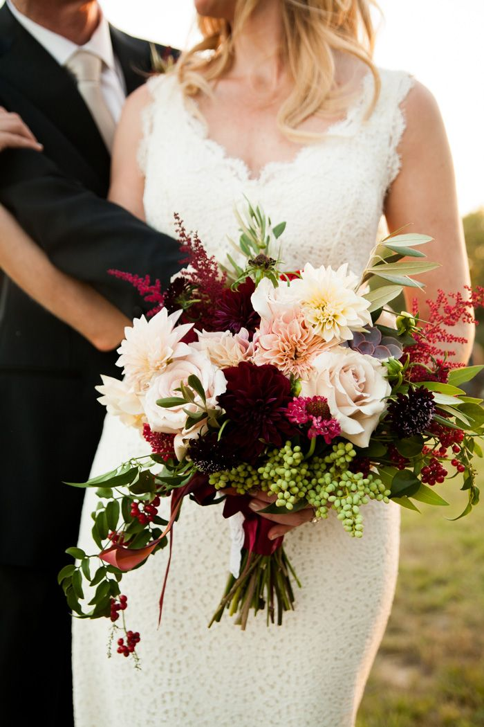 Refined Burgundy And Blush Wedding Bouquet Idea