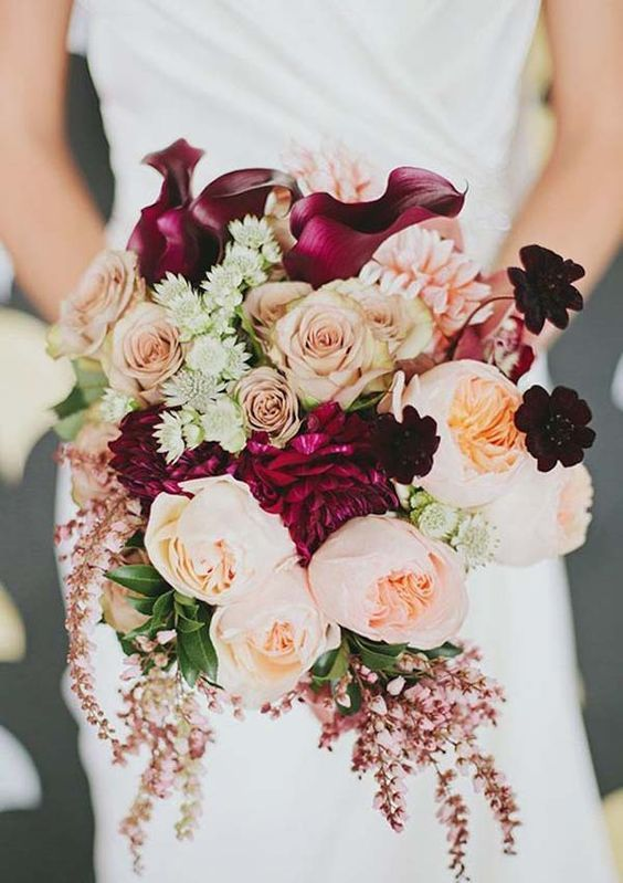 Wild romantic rose bouquet in berry and blush by Peppermint Photography