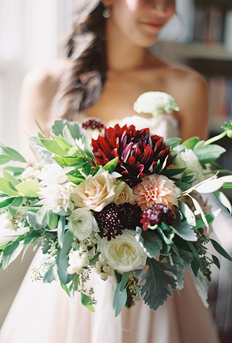 Rich burgundy and blush bouquet Photos by Caleigh