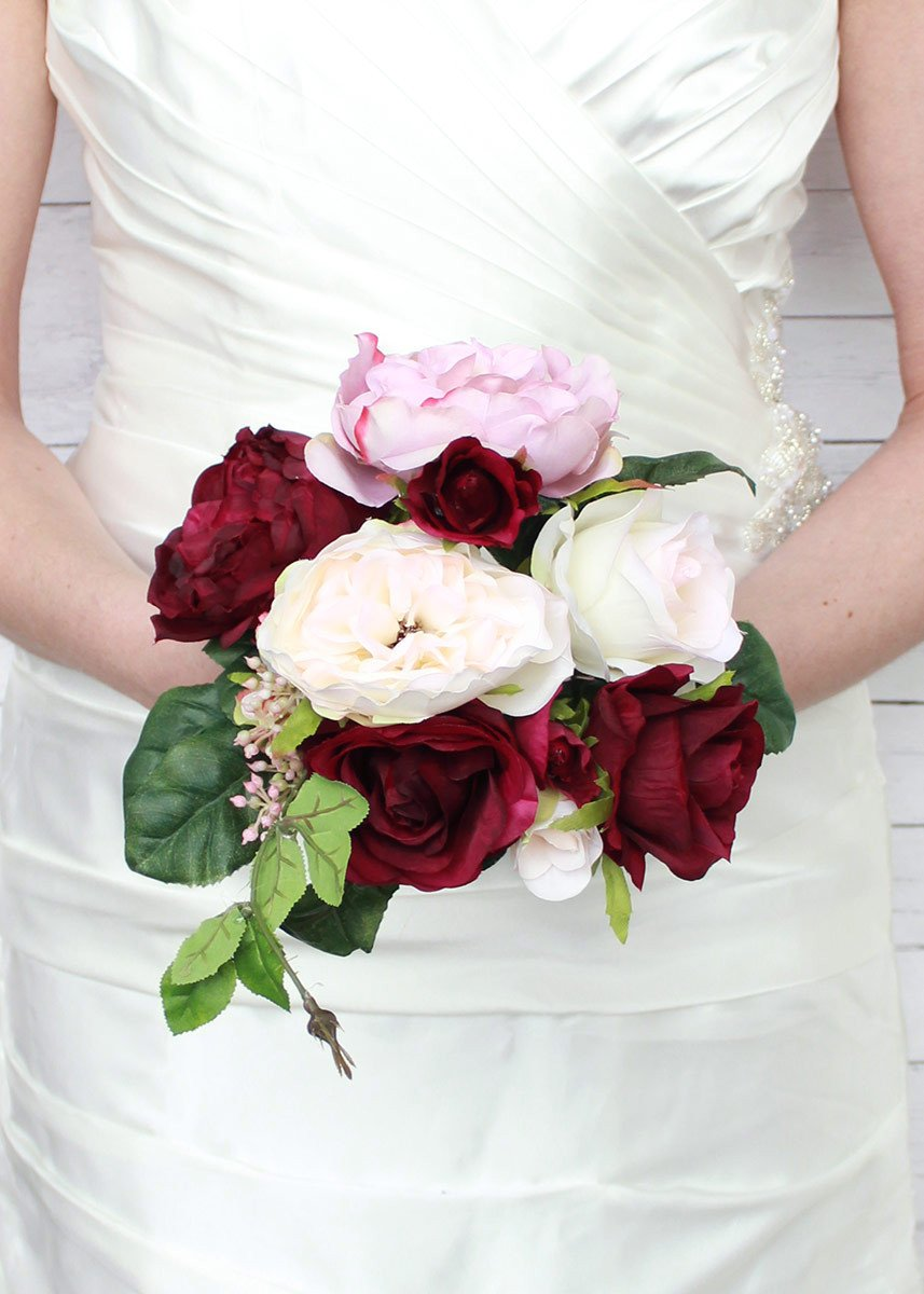 pretty bridesmaid bouquets of blush pink and burgundy to accent - roses