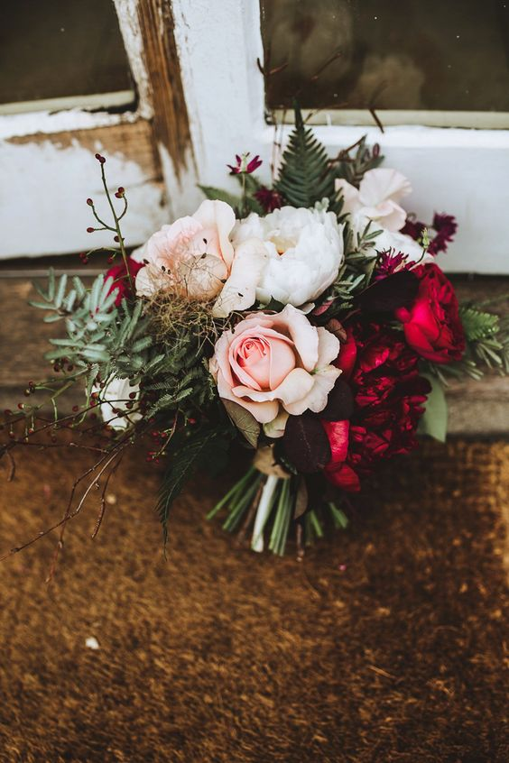 Mimi Fran Bridal Bouquet Blush and Burgundy Bouquet