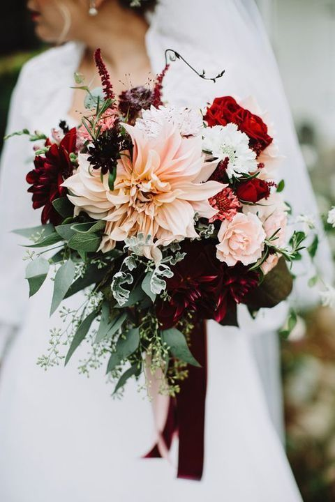 Picture Of burgundy dahlias and blush bouquet