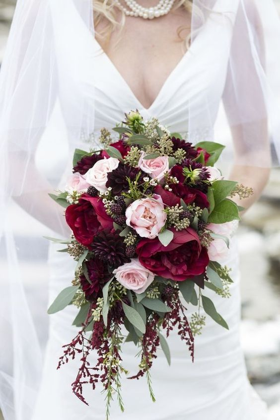 Burgundy and Mauve Roses | Silk Flower Wedding Bouquets