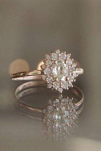 morganite flower engagement ring 14k rose gold flower engagement ring image credit polyvore - Flower Wedding Ring