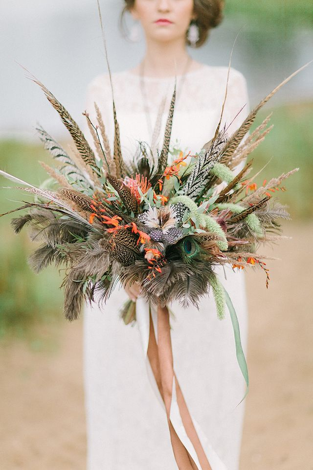 Unique rustic feather wedding bouquets