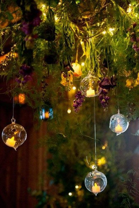 hanging string lights make you feel like you're in an enchanted forest | Photo : ShewandersPhotography