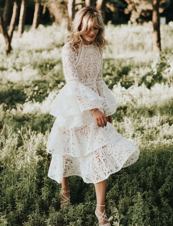 Summer lace wedding dress with bell sleeves