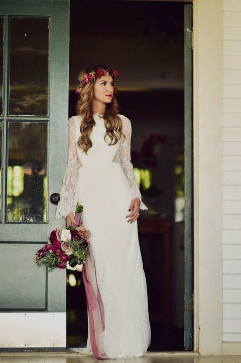 White Lace Crochet Bell Sleeve Simple Bohemian Wedding Dress