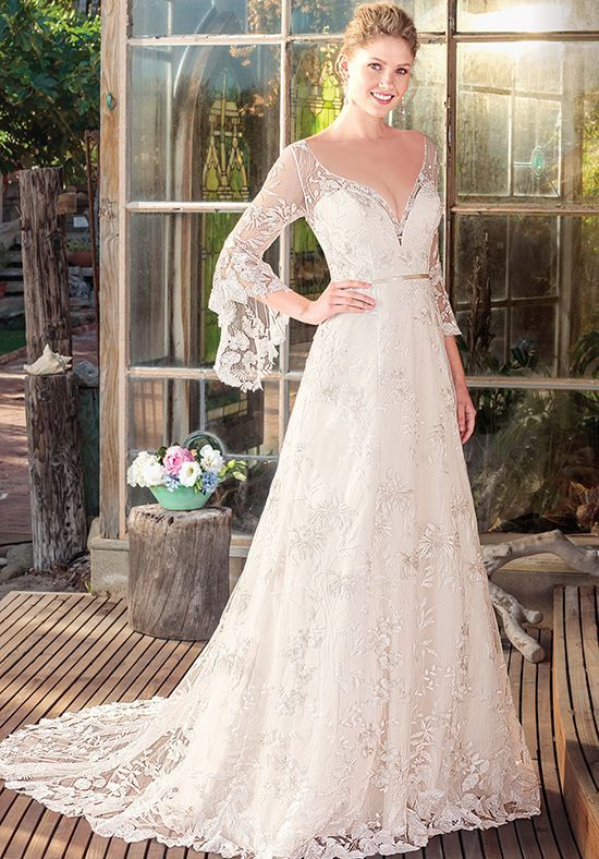 Elegant bell sleeve lace Pnina Tornai wedding dress