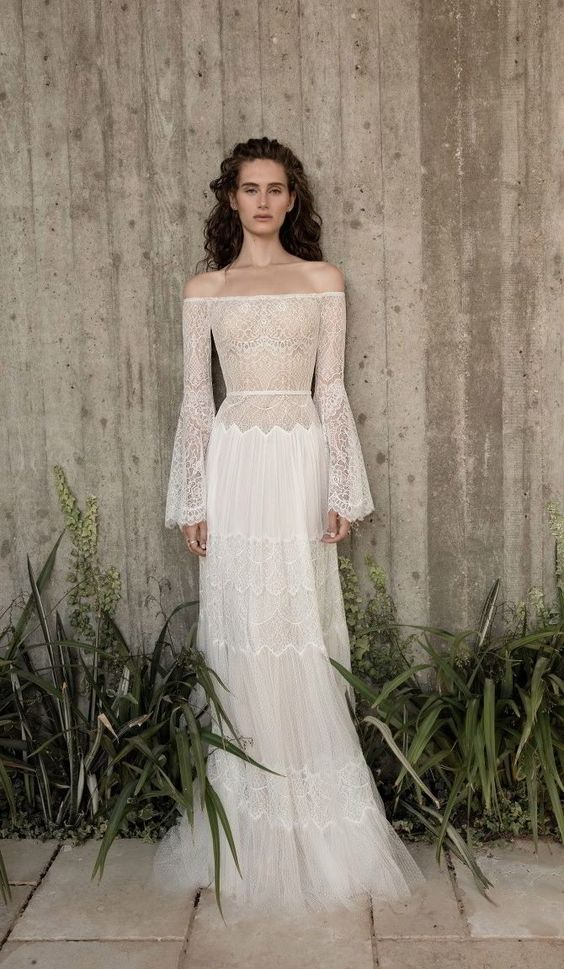 free-spirited bell sleeve dresses for boho wedding