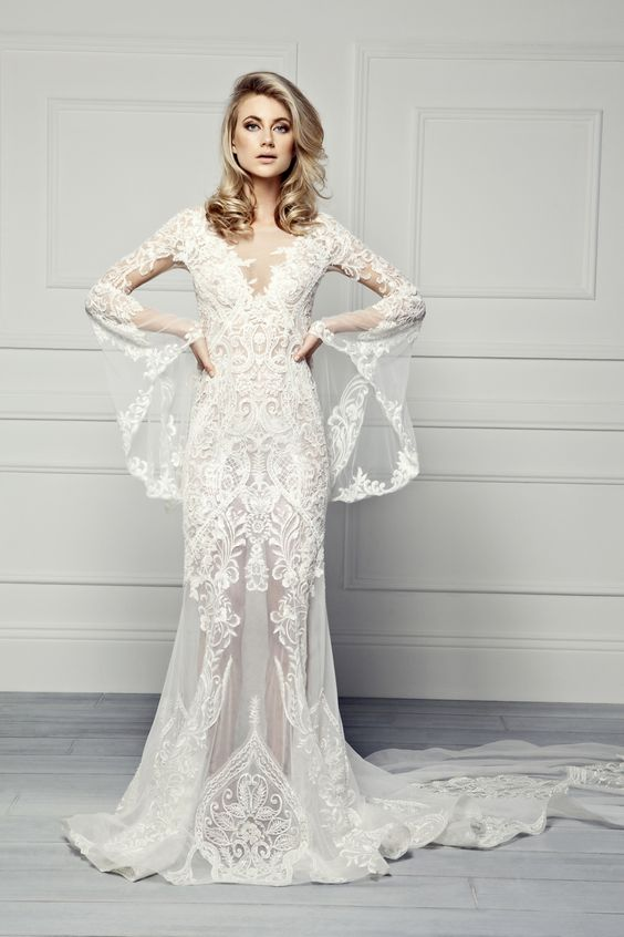 oh so romantic wedding dress with bell sleeves