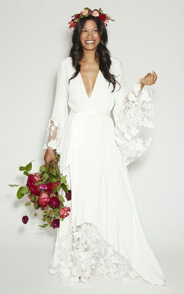 three-quarter bell sleeve wedding dresses