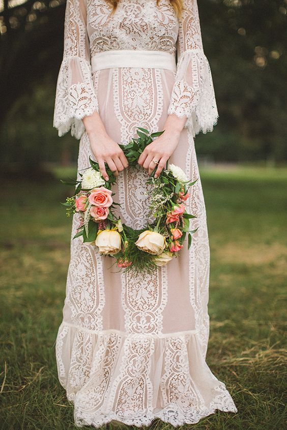 Country Wedding Dresses with Bell Sleeves