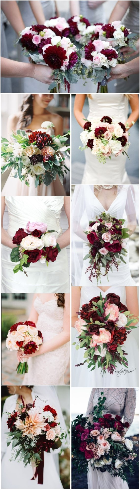 Elegant Burgundy and Blush Wedding Bouquet Ideas