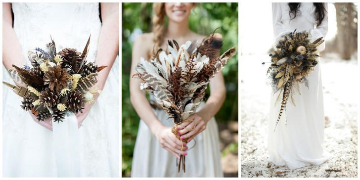 18 Unique Rustic Feather Wedding Bouquets