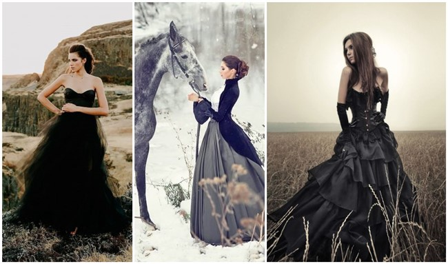18 Non-traditional Black Gothic Wedding Dresses to Love!