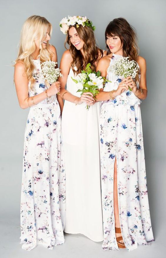long bright bridesmaid dresses