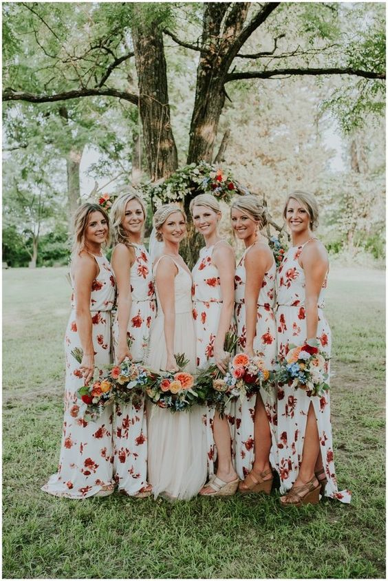 22 Floral Print Bridesmaid Dresses for Spring and Summer Weddings