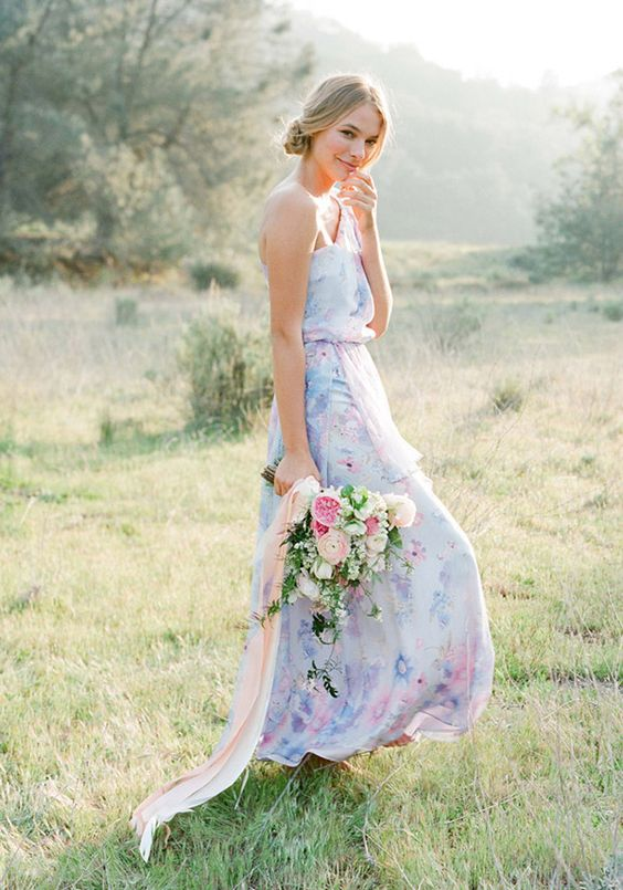 22 floral print bridesmaid dresses for spring and summer for Floral print dresses for weddings